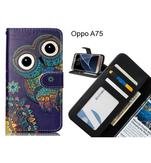 Oppo A75 case 3 card leather wallet case printed ID