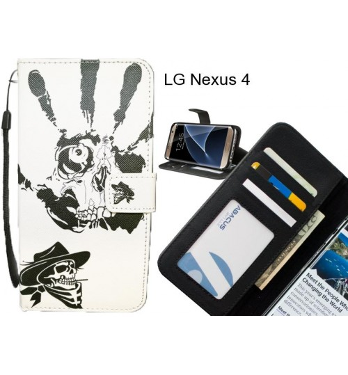 LG Nexus 4 case 3 card leather wallet case printed ID