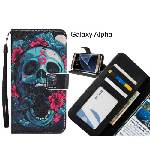 Galaxy Alpha case 3 card leather wallet case printed ID