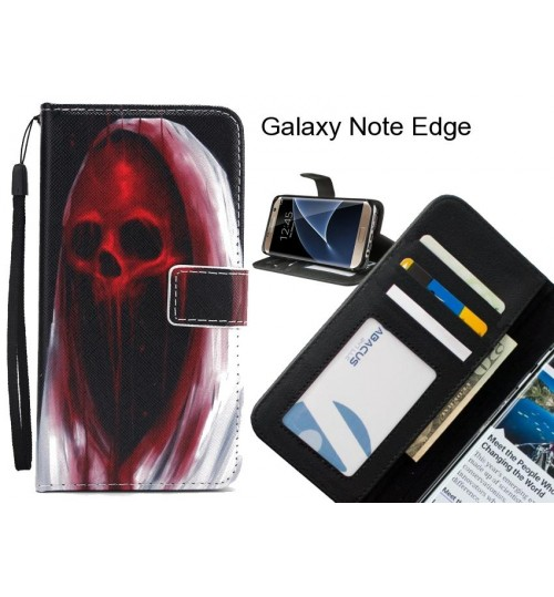 Galaxy Note Edge case 3 card leather wallet case printed ID