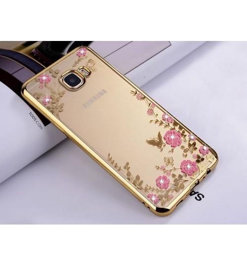 Samsung Galaxy A7 2017 soft gel tpu case luxury bling shiny floral case