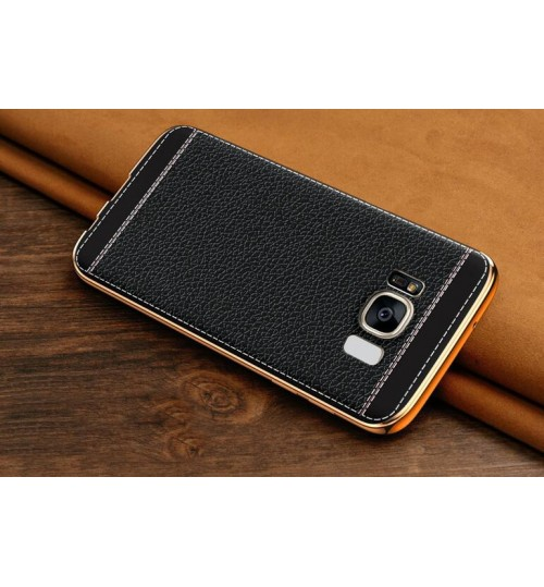 Galaxy S8 Slim Bumper with back TPU Leather soft Case