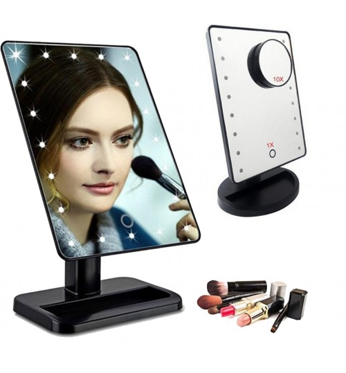 Mirror LED Lighted Makeup Mirror 180 Degree Free Rotation Touch Screen