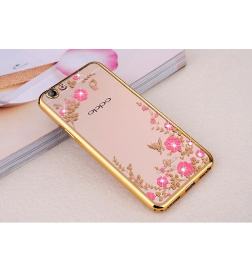 Oppo R9S case soft gel tpu case luxury bling shiny floral case
