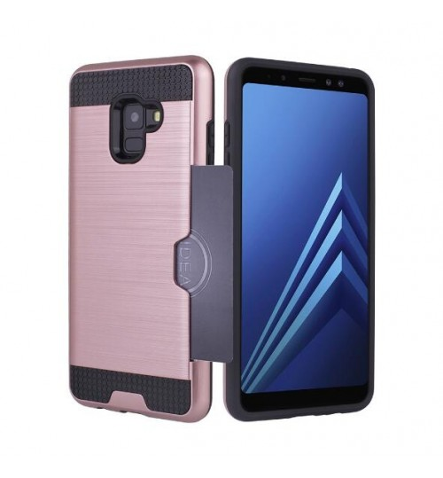 Galaxy S9 PLUS case impact proof hybrid  card clip Brushed Metal Texture