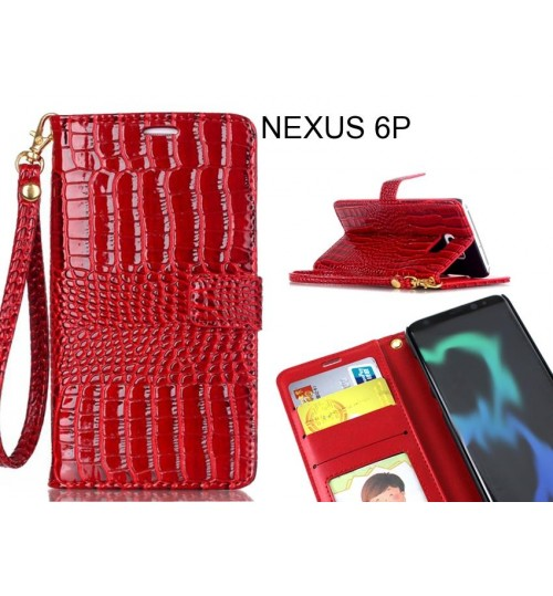 NEXUS 6P case Croco wallet Leather case