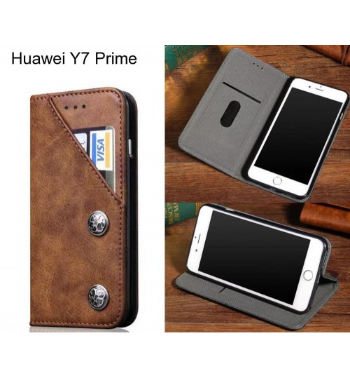 Huawei Y7 Prime  case ultra slim retro leather 2 cards magnet case