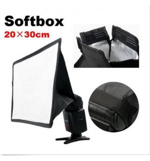 Portable Softbox For Cameras Flash Light Speedlite Photo Speedlight 20*30cm