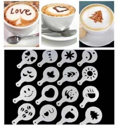 Coffee Stencil 16 Pcs Plastic Latte Mold Cappuccino Coffee Decorating Tool