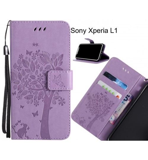 Sony Xperia L1 case leather wallet case embossed cat & tree pattern