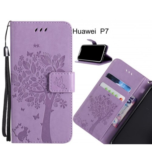 Huawei  P7 case leather wallet case embossed cat & tree pattern