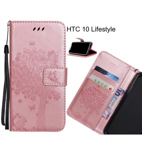HTC 10 Lifestyle case leather wallet case embossed cat & tree pattern