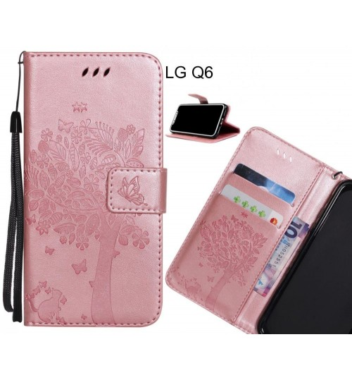 LG Q6 case leather wallet case embossed cat & tree pattern