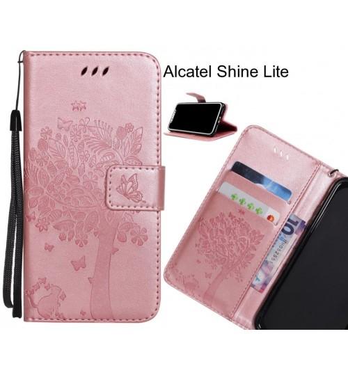 Alcatel Shine Lite case leather wallet case embossed cat & tree pattern