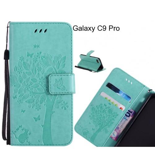 Galaxy C9 Pro case leather wallet case embossed cat & tree pattern