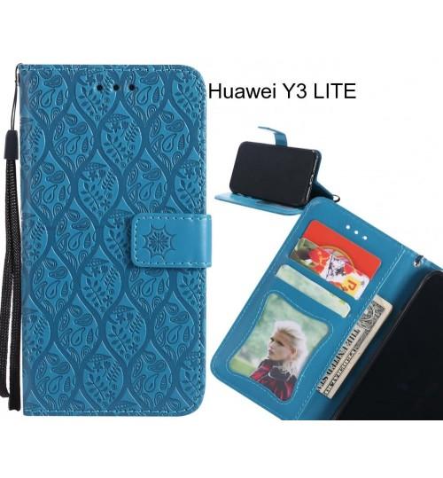Huawei Y3 LITE Case Leather Wallet Case embossed sunflower pattern