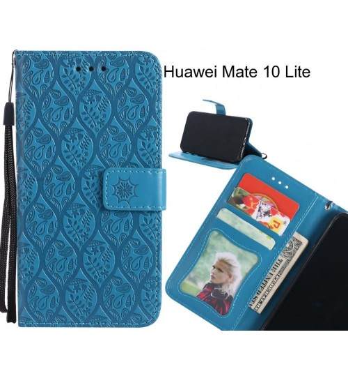 Huawei Mate 10 Lite Case Leather Wallet Case embossed sunflower pattern