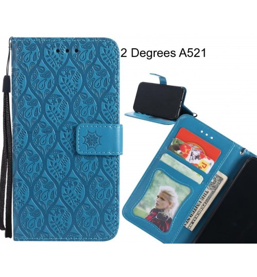 2 Degrees A521 Case Leather Wallet Case embossed sunflower pattern
