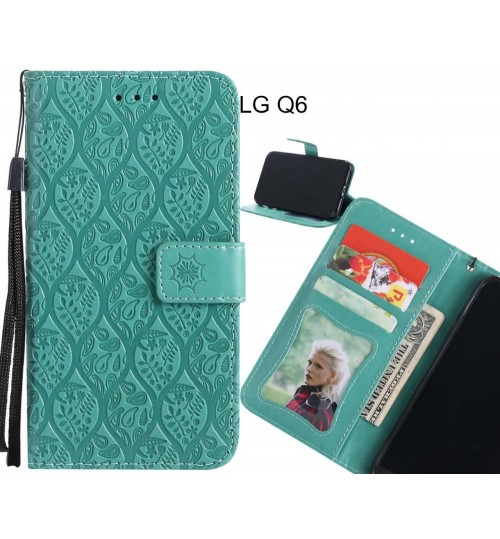 LG Q6 Case Leather Wallet Case embossed sunflower pattern