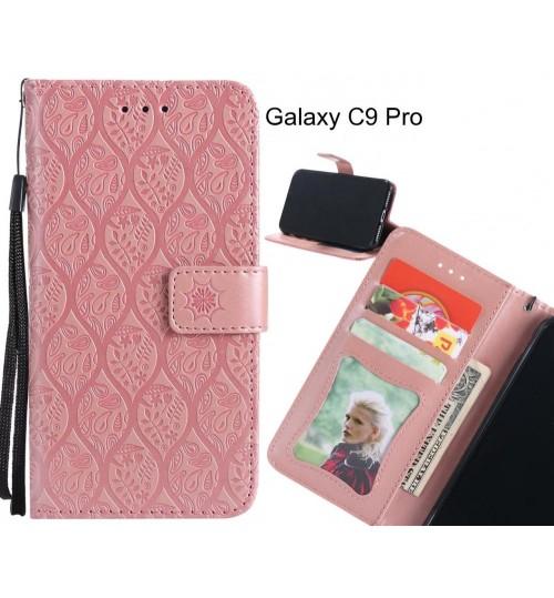 Galaxy C9 Pro Case Leather Wallet Case embossed sunflower pattern