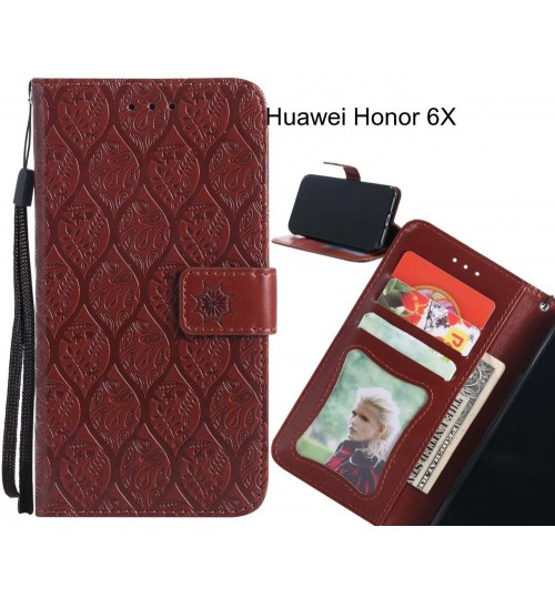 Huawei Honor 6X Case Leather Wallet Case embossed sunflower pattern