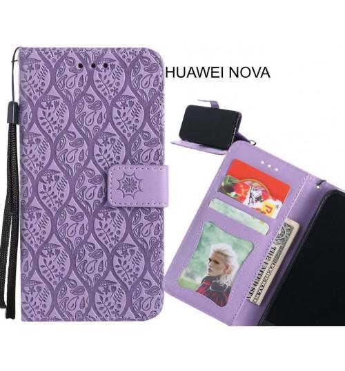 HUAWEI NOVA Case Leather Wallet Case embossed sunflower pattern