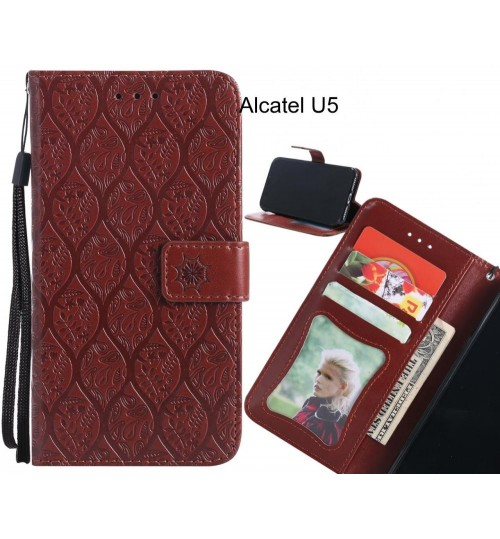Alcatel U5 Case Leather Wallet Case embossed sunflower pattern