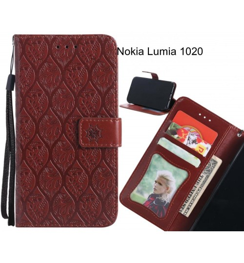 Nokia Lumia 1020 Case Leather Wallet Case embossed sunflower pattern