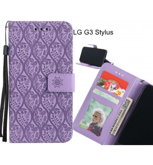 LG G3 Stylus Case Leather Wallet Case embossed sunflower pattern