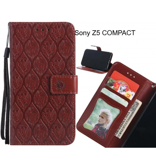 Sony Z5 COMPACT Case Leather Wallet Case embossed sunflower pattern