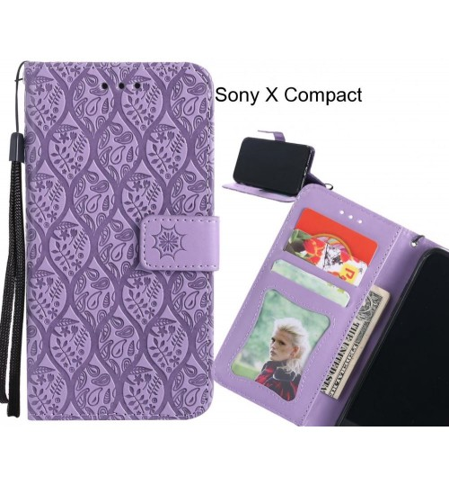 Sony X Compact Case Leather Wallet Case embossed sunflower pattern