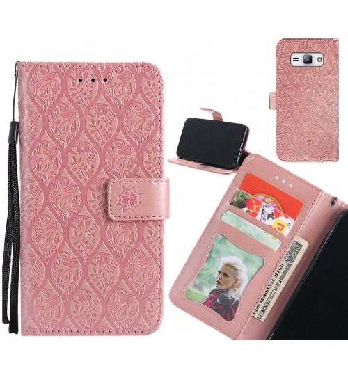Galaxy J1 Ace Case Leather Wallet Case embossed sunflower pattern