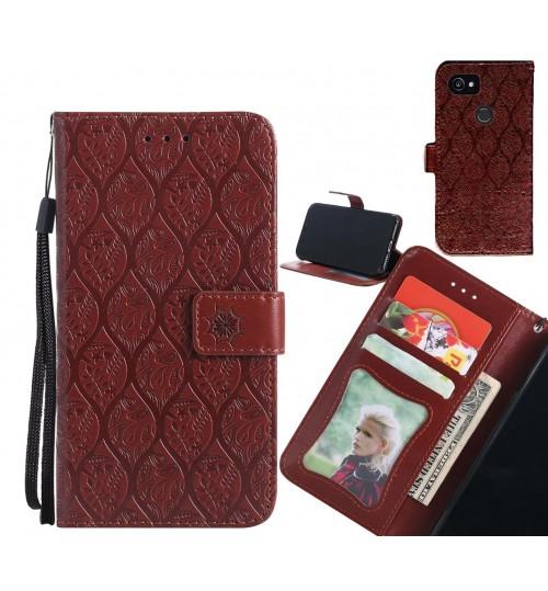 Google Pixel 2 XL Case Leather Wallet Case embossed sunflower pattern