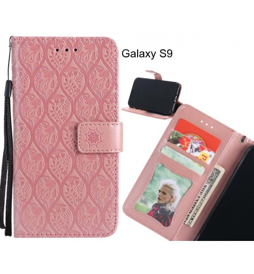 Galaxy S9 Case Leather Wallet Case embossed sunflower pattern