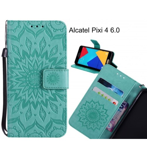 Alcatel Pixi 4 6.0 Case Leather Wallet case embossed sunflower pattern