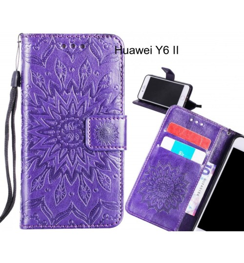 Huawei Y6 II Case Leather Wallet case embossed sunflower pattern