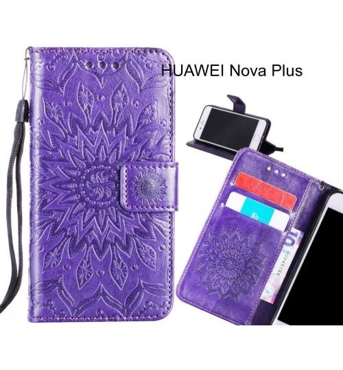 HUAWEI Nova Plus Case Leather Wallet case embossed sunflower pattern