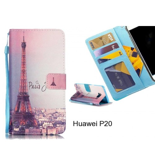 Huawei P20 case 3 card leather wallet case printed ID