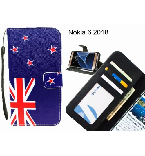 Nokia 6 2018 case 3 card leather wallet case printed ID