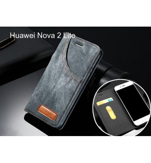 Huawei Nova 2 Lite case leather wallet case retro denim slim concealed magnet