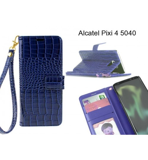 Alcatel Pixi 4 5040 case Croco wallet Leather case