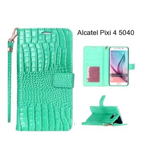 Alcatel Pixi 4 5040 case Croco wallet Leather case