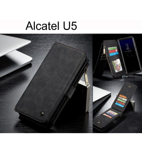 Alcatel U5 Case Retro Flannelette leather case multi cards zipper