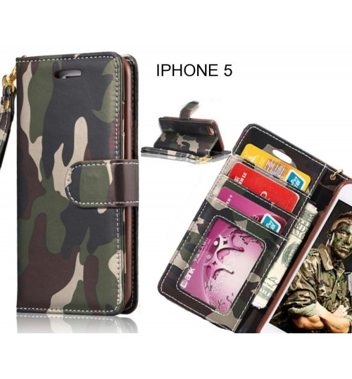 IPHONE 5 case camouflage leather wallet case cover