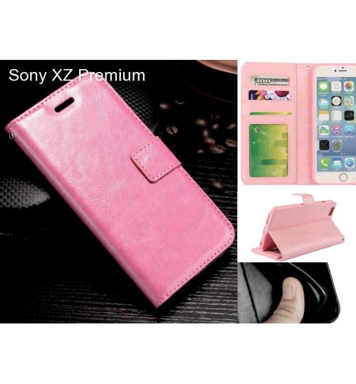 Sony XZ Premium case Fine leather wallet case