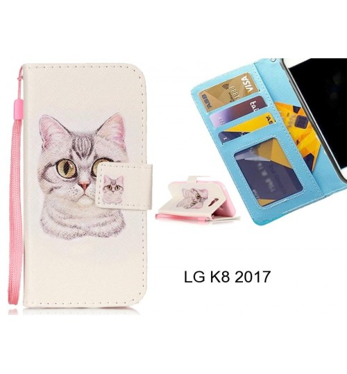 LG K8 2017 case 3 card leather wallet case printed ID