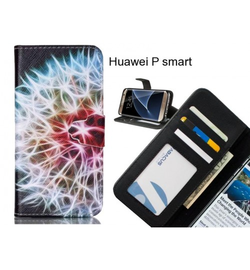 Huawei P smart case 3 card leather wallet case printed ID
