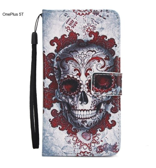 OnePlus 5T case 3 card leather wallet case printed ID