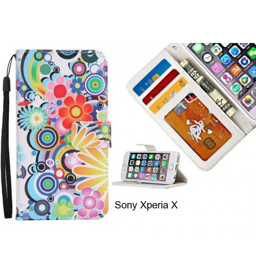 Sony Xperia X case 3 card leather wallet case printed ID