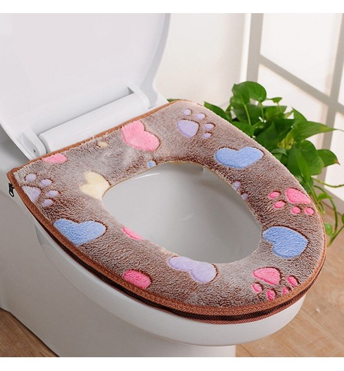 Bathroom Toilet Seat Warmer Cover Washable